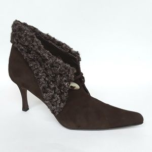 Brown Suede Wool Fur Trimmed Ankle Boots